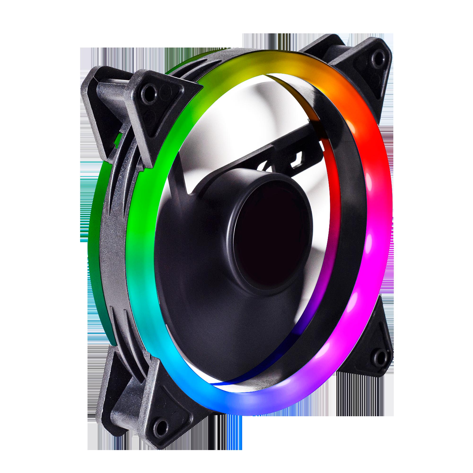 Dual Ring 16 Led 120mm Rainbow Rgb Fan For Shadow Phantom 6pin Gamemax Uk